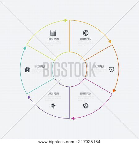 Infographics template 6 options with circle. Data and information visualization. Dynamic infographics stylish geometric. element for design business invitations, gift cards, flyers and brochures