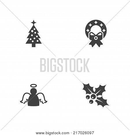 Collection Of Christmas Wreath, Ilex, Archangel And Other Elements.  Set Of 4 New Icons Set.