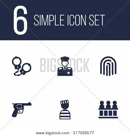 Collection Of Manacles, Policeman, Jury And Other Elements.  Set Of 6 Crime Icons Set.