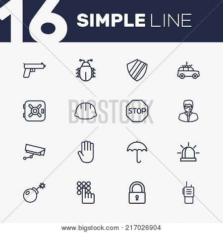 Collection Of Protection , Hand , Virus Elements.  Set Of 16 Procuring Outline Icons Set.