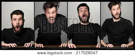 Funny and crazy man using a computer on gray background. man's hands on the keyboard. Collage