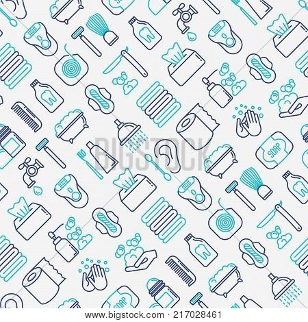 Hygiene seamless pattern with thin line icons: hand soap, shower, bathtub, toothpaste, razor, shaving brush, sanitary napkin, comb, ball deodorant, mouth rinse. Vector illustration. poster