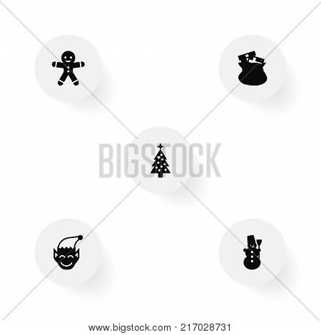Collection Of Sack, Fir, Gnome And Other Elements.  Set Of 5 Year Icons Set.