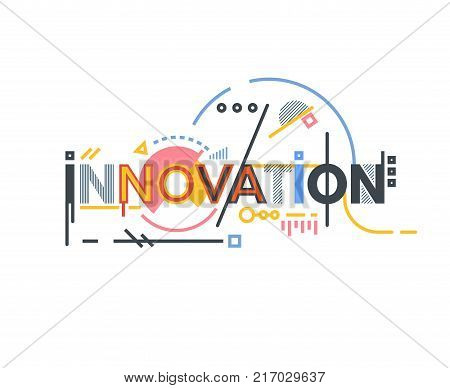 Innovation text banner concept. Thin and thick lines illustration. Circles and squares. Geometric text and letters abstract shapes. Linear modern trendy vector banner.
