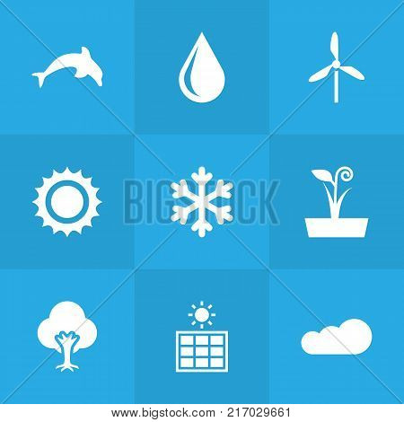 Collection Of Blob, Flowerpot, Overcast And Other Elements.  Set Of 9 Ecology Icons Set.