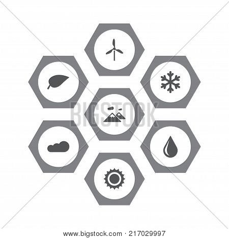 Collection Of Solar, Winter Snow, Blob And Other Elements.  Set Of 7 Ecology Icons Set.