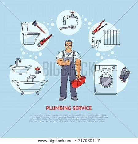 Plumbing banner, poster, leaflet design showing smiling plumber and types of services, cartoon vector illustration isolated on white background. Plumbing services infographics, banner, poster design