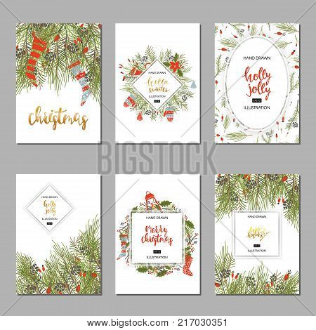Merry Christmas handwriting script lettering. Greeting background with a Christmas tree.