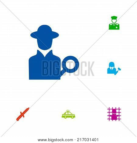 Collection Of Lawyer, Bayonet, Police Car And Other Elements.  Set Of 6 Crime Icons Set.