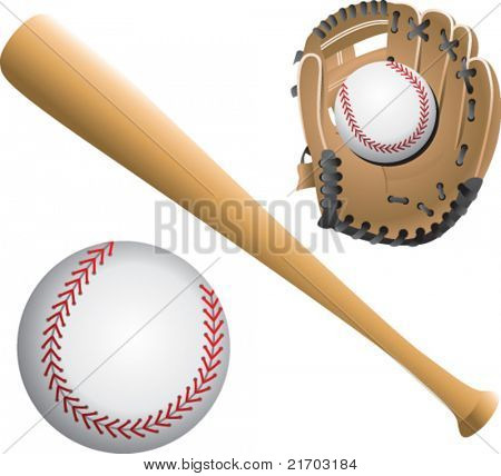 Baseballs, bat, and glove on white backdrop