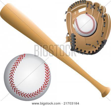 Baseballs, bat, and glove on white backdrop