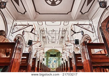 Intricate architecture at St MArys Church, Parry Corne in Chennai India