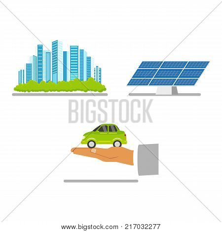 Alternative energy concept - green city, solar panel, electric vehicle, flat vector illustration isolated on white background. Electric car, solar panel, green, eco-friendly city, ecology conservation