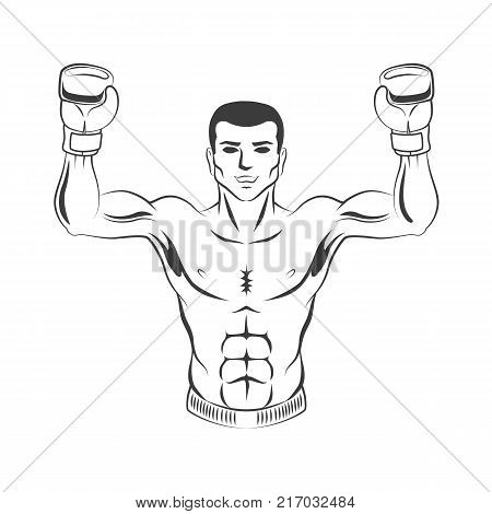 vector muscular strong handsome boxer man bare torso and chest standing with hands in boxing gloves raised up smiling like winner black and white icon. Isolated illustration on white background.