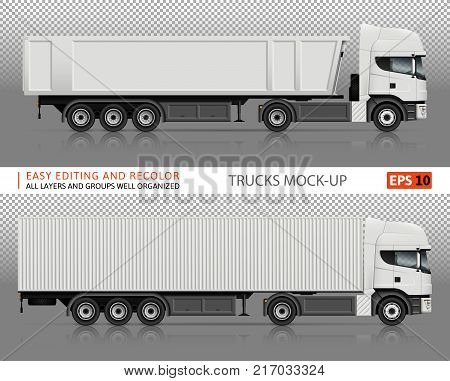 Trucks vector mock-up for advertising corporate identity. Isolated lorry template on transparent background. Vehicle branding mockup. All layers and groups well organized for easy editing and recolor