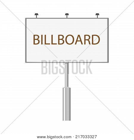 Billboard, outdoor advertising structure, city landscape element, flat style vector illustration isolated on white background. Flat style billboard, billing board template, mockup, front view