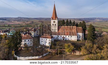 aerial view of Cincu medieval church. Brasov county. Transylvania Romania