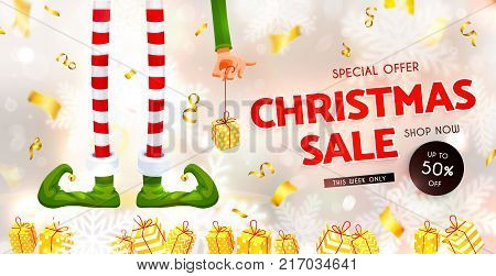 Christmas sale. Elf's legs and Elf's hand with a gift. Funny assistant to Santa Claus. Festive Blurred White Silver Background. Christmas composition. Xmas collection. New Year vector illustration