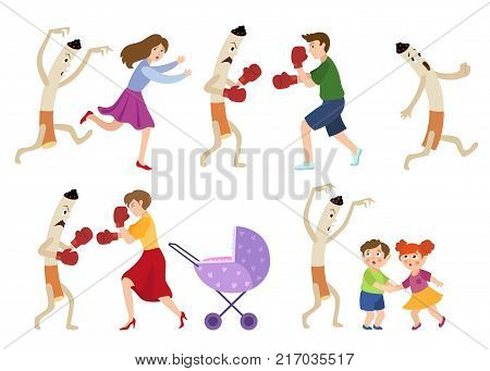 People fighting smoking habit, scared children and huge cigarette frightening kids and running away, cartoon vector illustration isolated on white background. People and evel cigarette character