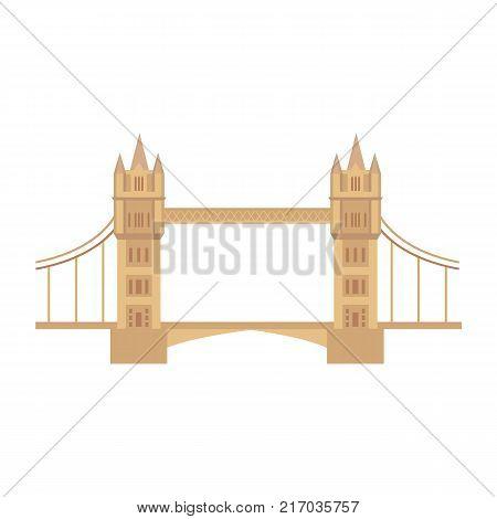 vector flat Tower Bridge of London icon isolated. United kingdom, great britain, national english traditional symbol, architecture landmark building. Isolated illustration on a white background.