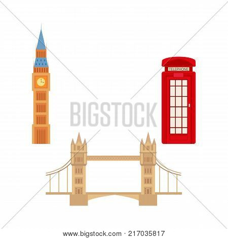 vector flat United kingdom, great britain symbols set. British phone red booth cabin, Tower Bridge and Big Ban Tower of London icon. Isolated illustration on a white background