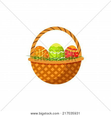 Woven basket with three colorful painted eggs, Easter decoration element, cartoon vector illustration isolated on white background. Cartoon style basket with painted Easter eggs