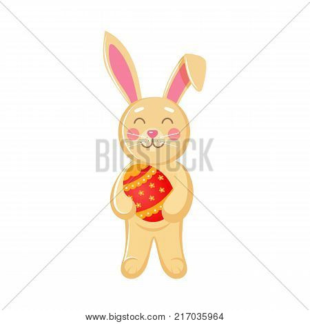 Cute bunny holding painted egg, Easter decoration element, cartoon vector illustration isolated on white background. Cartoon style Easter bunny, rabbit, hare holding painted egg