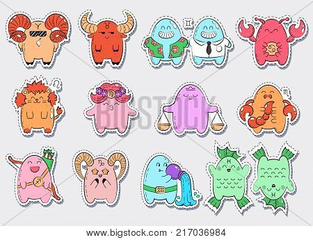 Zodiac icons. Collection of twelve icons of zodiac signs. Vector doodle illustration with cartoon comic characters.
