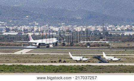 Athens - November 21 2017: Large passenger airplane Airbus A-330-302 Qatar Airways makes a landing at the airport on November 21 2017 Athens Greece