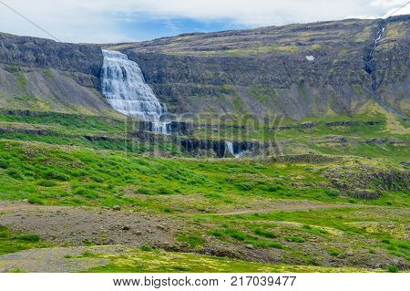 Landscape and the Dynjandi waterfalls in the west fjords region Iceland