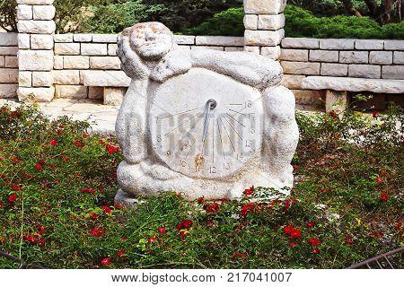 Sundial sculpture in the Rose garden, Park Ramat Hanadiv, Israel. The park is a family vault of Baron Edmond de Rothschild (1845-1934) and Baroness Adelaide de Rothschild (1853-1935)