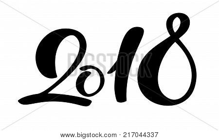 Black number christmas 2018 hand drawn lettering on white background. Greeting card design template with calligraphy for 2018 New Year. Vector illustration.