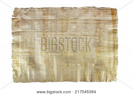 a sheet of natural Egyptian papyrus created by authentic technology isolated