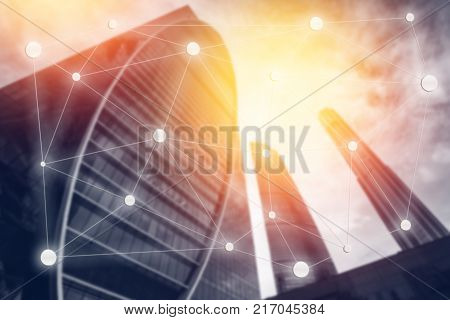 blur abstract background  Moscow International Business Center. Concept background for business negotiations, business, transactions, calculations, Blockchain, communication