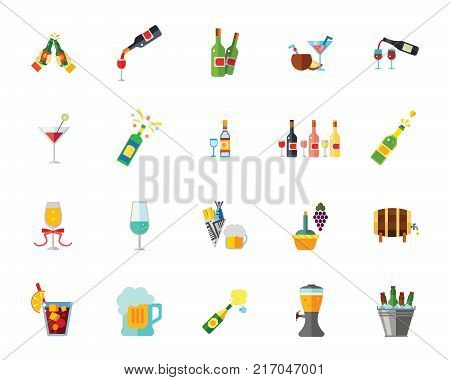 Alcohol icon set. Can be used for topics like party, bar, addiction, alcoholism, alcoholic beverage store