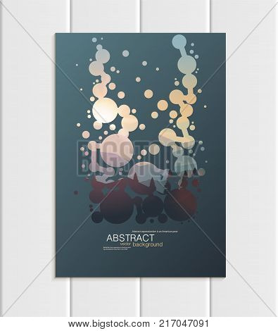 Stock vector A5 or A4 format brochure design business template with abstract circles and mountain landscape at sunset, dawn backgrounds for printed material, corporate style element, corporate style