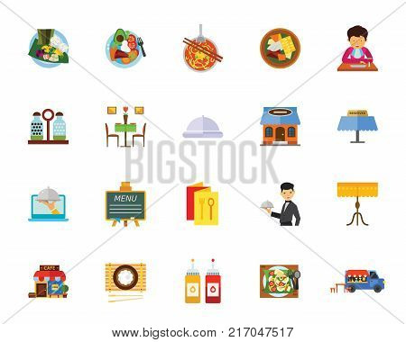 Cafe icon set. Can be used for topics like vegetarian food, restaurant, food service, break, dining out