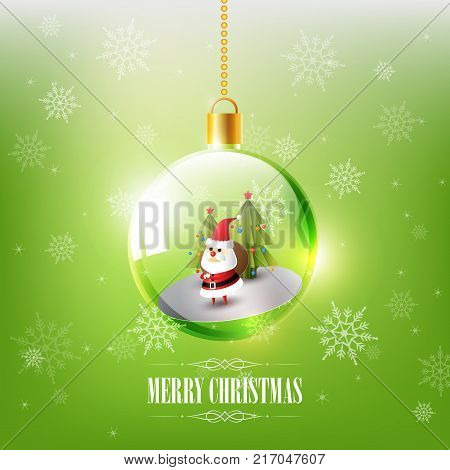 Merry Christmas with Santa Claus in Christmas ball, Hanging Christmas ball on green snowflake background, vector illustration