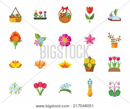 Flowers icon set. Can be used for topics like plants, floriculture, nature, flora, hobby, spring, botany