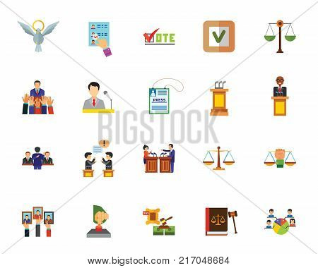Politics icon set. Can be used for topics like election campaign, presidential election, law, justice