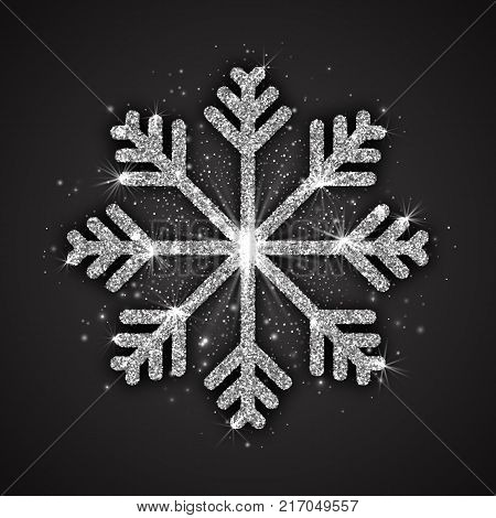 Vector Silver Sparkling Snowflake with Shimmer Glitter Texture Isolated on Dark Gray Background. Merry Christmas, Xmas, Happy New Year, Noel, Yule Holidays Abstract Symbol Decoration. 3D Illustration