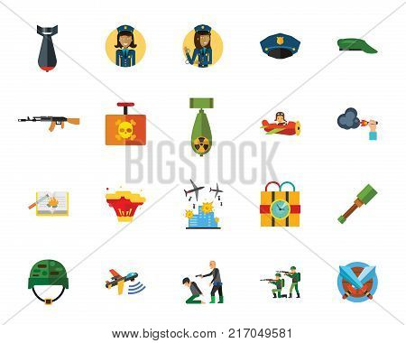 War and terror creative icon set. Can be used for topics like terrorism, danger, rebel, revolution, violence, public security