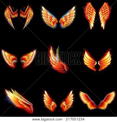 Fire wings phoenix vector winged angel burning fantasy bird fiery wingspan of inferno fireburn in hot hell illustration isolated on black background.