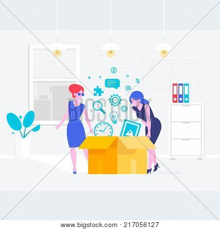 Secretary or a clerk working at her office.Vector illustration of young business woman personal assistant or hard working secretary. Flat vector illustration