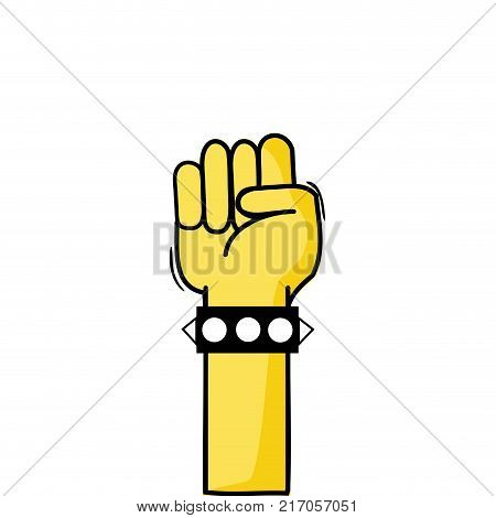 hand with bracelet and oppose gesture symbol vector illustration