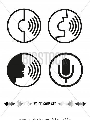 Voice Recognition Icons Set. Vector elements.  Biometrics Illustration.