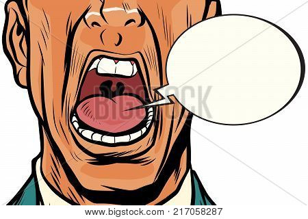 close-up mouth screams male, panic face. Pop art retro vector illustration