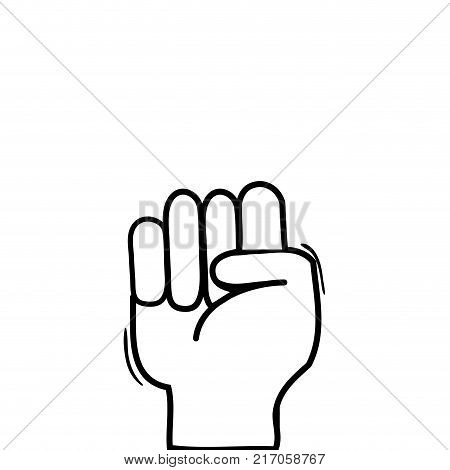 line hand with oppose gesture symbol communication vector illustration