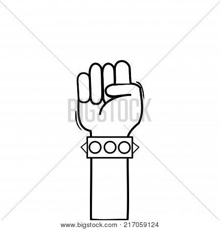 line hand with bracelet and oppose gesture symbol vector illustration
