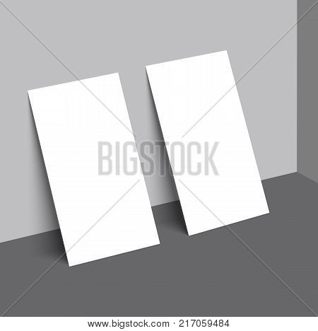 Two business card with shadow mockup cover template.